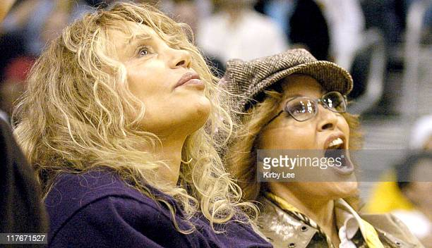 Dyan Cannon and Raquel Welch watch Los Angeles Lakers game against the New Jersey Nets at the Staples Center in Los Angeles Calif on Friday Jan 28...