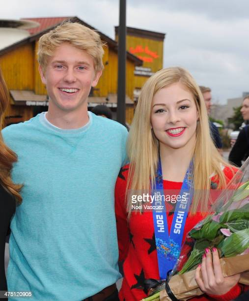 Dyer Pettijohn and Gracie Gold visit 'Extra' at Universal Studios Hollywood on February 26 2014 in Universal City California