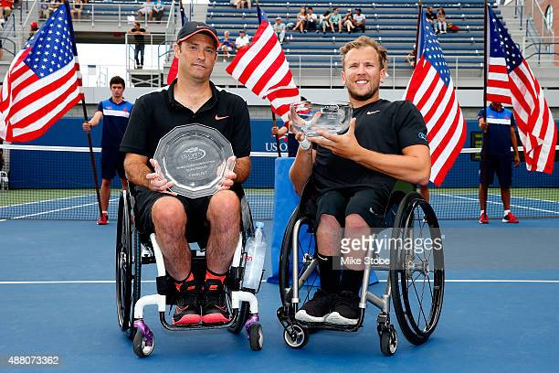Dylan Alcott of Australia poses with the trophy after defeating David Wagner of the United States in their Men's Wheelchair Quad Singles Final on Day...