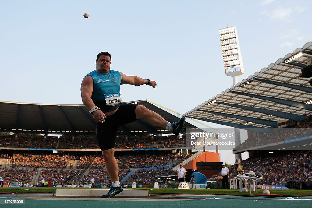 Dylan Armstrong of Canada competes in the Mens Shot Put during the 2013 Belgacom Memorial Van Damme IAAF Diamond League meet at The King Baudouin Stadium on September 6, 2013 in Brussels, Belgium.