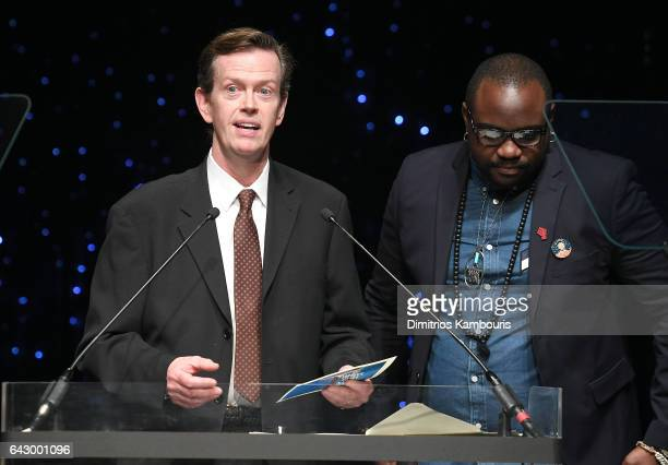 Dylan Baker and Brian Tyree Henry speak onstage during 69th Writers Guild Awards New York Ceremony at Edison Ballroom on February 19 2017 in New York...