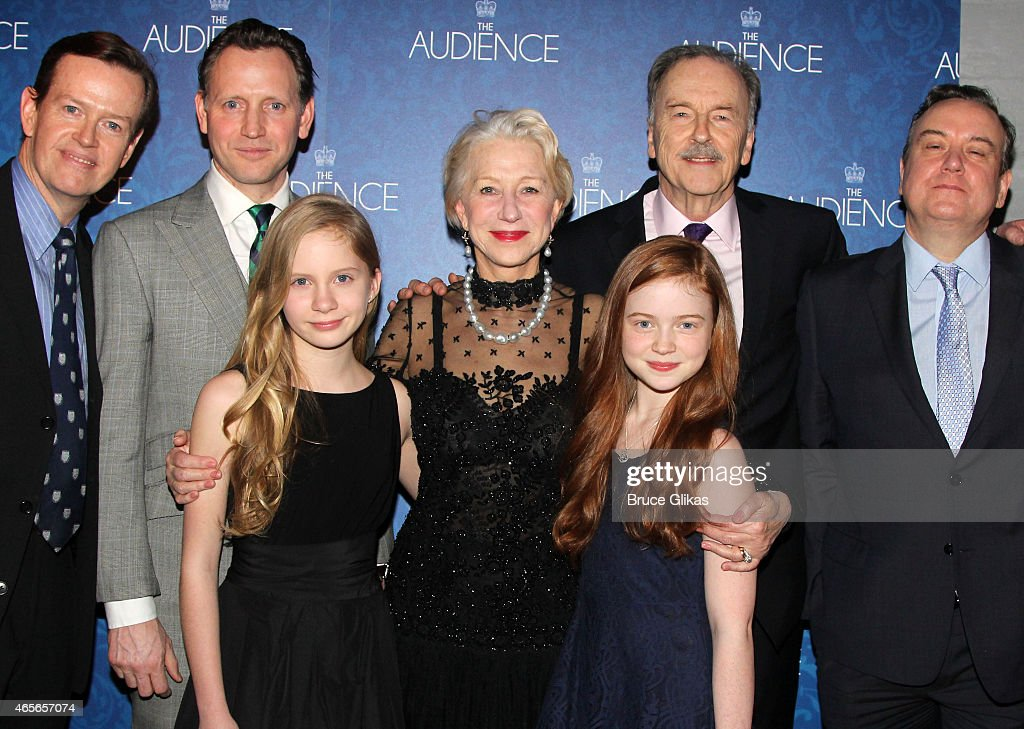 Dylan Baker, Rufus Wright, Elizabeth Teeter, Helen Mirren, Sadie Sink, Michael Elwyn, Richard McCabe and Judith Ivey pose at the Opening Night After Party for 'The Audience' on Broadway at Urbo NYC on March 8, 2015 in New York City.