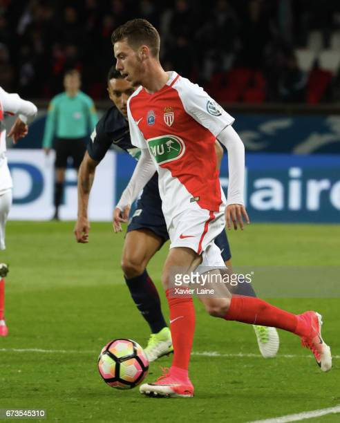 Dylan Beaulieu AS Monaco in action during the French Cup SemiFinal match between Paris SaintGermain and As Monaco at Parc des Princes on April 26...
