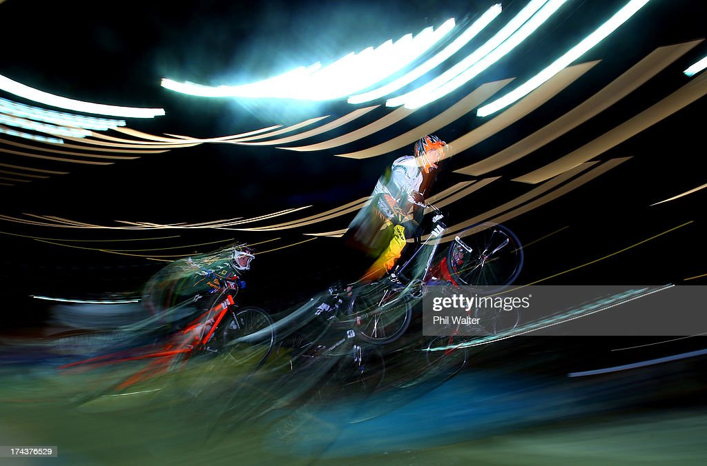 Dylan Bennetts of Australia clears a jump during day two of the UCI BMX World Championships at Vector Arena on July 25, 2013 in Auckland, New Zealand.