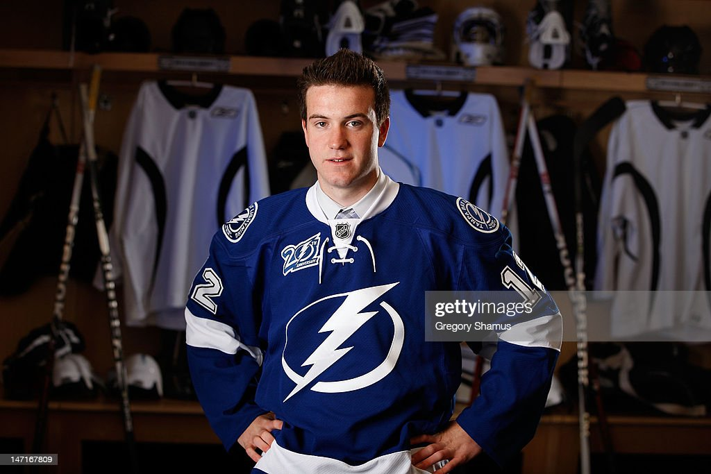 Dylan Blujus, 40th overall pick by the Tampa Bay Lightning, poses for a portrait during the 2012 NHL Entry Draft at Consol Energy Center on June 23, 2012 in Pittsburgh, Pennsylvania.