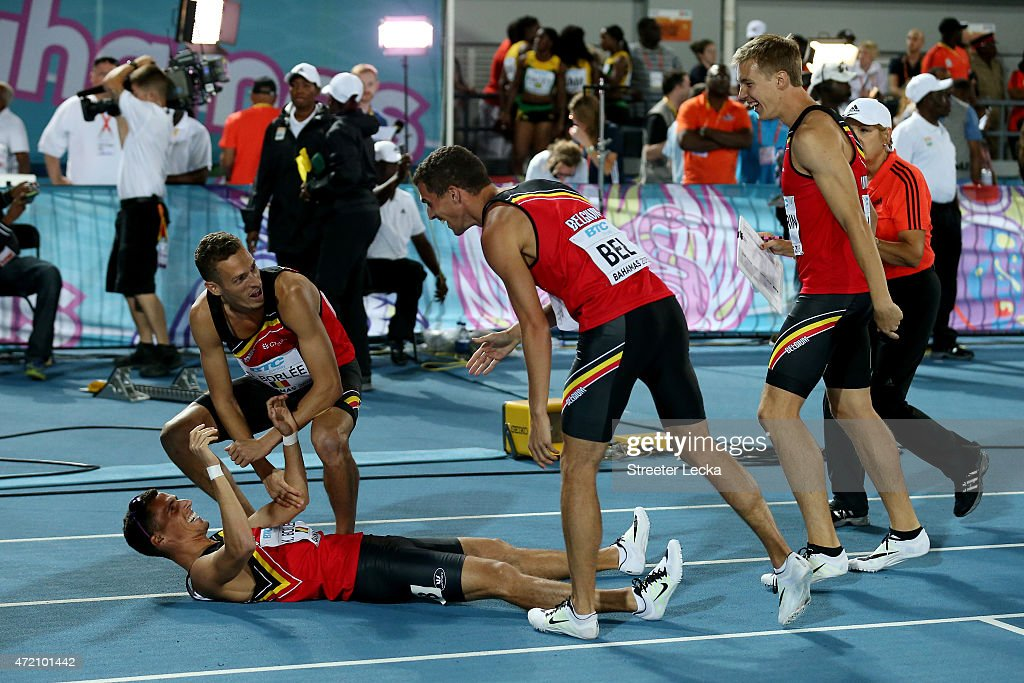 Dylan Borlée, Julien Watrin, Jonathan Borlée, and Kevin Borlée of Belgium celebrate after finishing in third place in the final of the men's 4 x 400 metres relay on day two of the IAAF/BTC World Relays, Bahamas 2015 at Thomas Robinson Stadium on May 3, 2015 in Nassau, Bahamas.