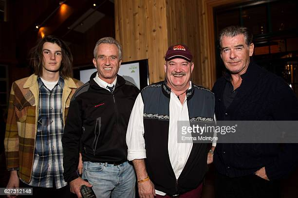 Dylan Brosnan Robert F Kennedy Jr Captain Keith Colburn and actor Pierce Brosnan attend the 2016 Deer Valley Celebrity Skifest on December 2 2016 in...