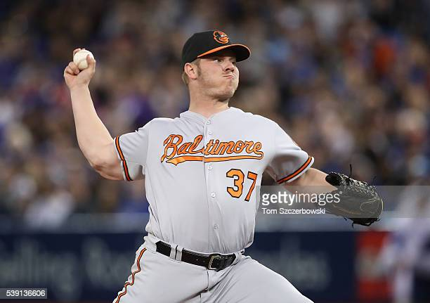 Dylan Bundy of the Baltimore Orioles delivers a pitch in the sixth inning during MLB game action against the Toronto Blue Jays on June 9 2016 at...