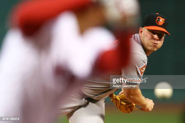 Dylan Bundy of the Baltimore Orioles delivers in the first inning of a game against the Boston Red Sox at Fenway Park on May 1 2017 in Boston...