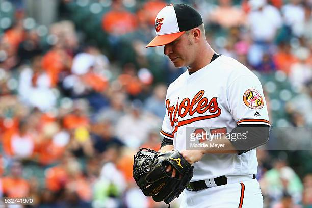 Dylan Bundy of the Baltimore Orioles enters the dugout after pitching against the Seattle Mariners during the ninth inning on May 19 2016 in...