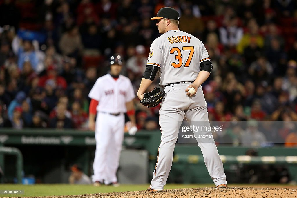 <a gi-track='captionPersonalityLinkClicked' href=/galleries/search?phrase=Dylan+Bundy&family=editorial&specificpeople=7948654 ng-click='$event.stopPropagation()'>Dylan Bundy</a> #37 of the Baltimore Orioles looks on in the sixth inning during the game against the Boston Red Sox at Fenway Park on April 12, 2016 in Boston, Massachusetts.
