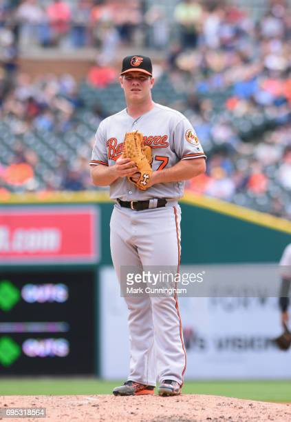Dylan Bundy of the Baltimore Orioles looks on while pitching during the game against the Detroit Tigers and the Baltimore Orioles at Comerica Park on...
