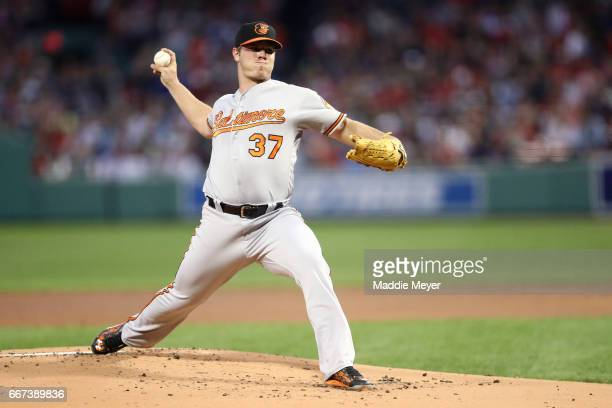 Dylan Bundy of the Baltimore Orioles pitches against the Boston Red Sox during the first inning at Fenway Park on April 11 2017 in Boston...