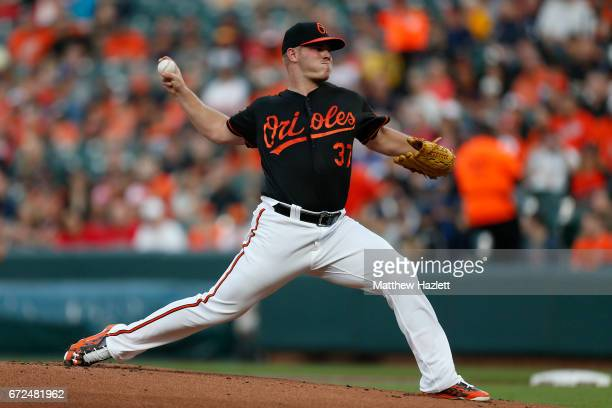 Dylan Bundy of the Baltimore Orioles pitches against the Boston Red Sox in the first inning at Oriole Park at Camden Yards on April 21 2017 in...