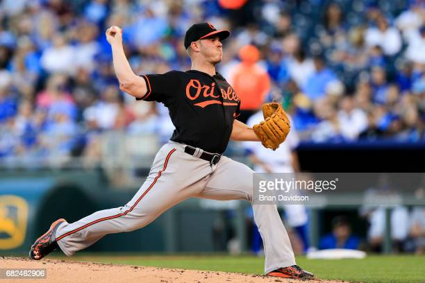 Dylan Bundy of the Baltimore Orioles pitches against the Kansas City Royals during the first inning at Kauffman Stadium on May 12 2017 in Kansas City...