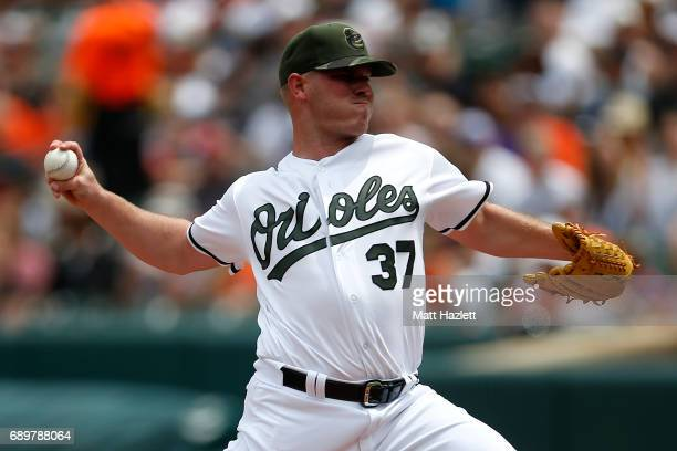 Dylan Bundy of the Baltimore Orioles pitches against the New York Yankees during the first inning at Oriole Park at Camden Yards on May 29 2017 in...