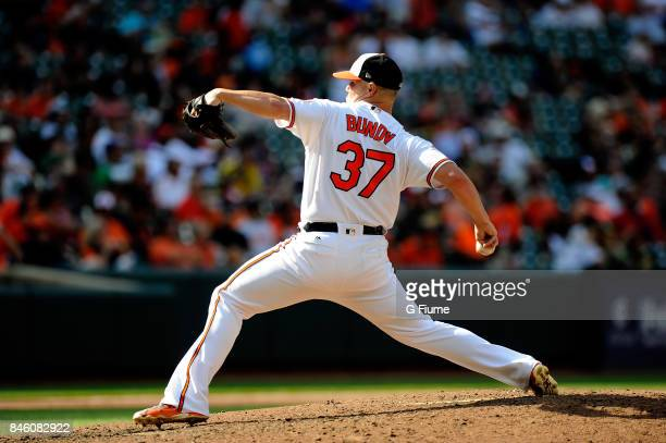 Dylan Bundy of the Baltimore Orioles pitches against the Oakland Athletics at Oriole Park at Camden Yards on August 23 2017 in Baltimore Maryland