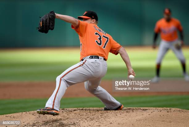 Dylan Bundy of the Baltimore Orioles pitches against the Oakland Athletics in the bottom of the first inning at Oakland Alameda Coliseum on August 12...