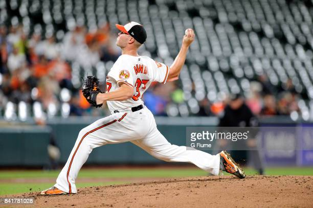 Dylan Bundy of the Baltimore Orioles pitches against the Seattle Mariners at Oriole Park at Camden Yards on August 29 2017 in Baltimore Maryland