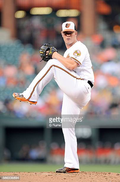 Dylan Bundy of the Baltimore Orioles pitches against the Texas Rangers at Oriole Park at Camden Yards on August 2 2016 in Baltimore Maryland