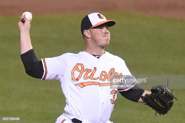 Dylan Bundy of the Baltimore Orioles pitches during a baseball game against the Minnesota Twins at Oriole Park at Camden Yards on April 7 2016 in...