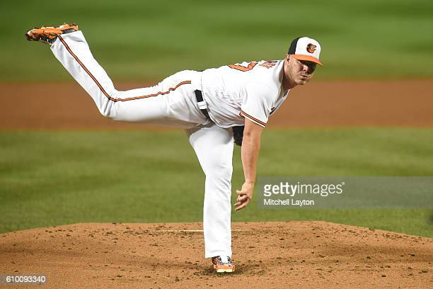 Dylan Bundy of the Baltimore Orioles pitches during a baseball game against the against the Boston Red Sox at Oriole Park at Camden Yards on...