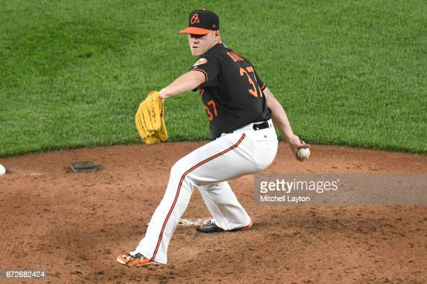 Dylan Bundy of the Baltimore Orioles pitches during a baseball game against the Boston Red Sox at Oriole Park at Camden Yards on April 21 2017 in...