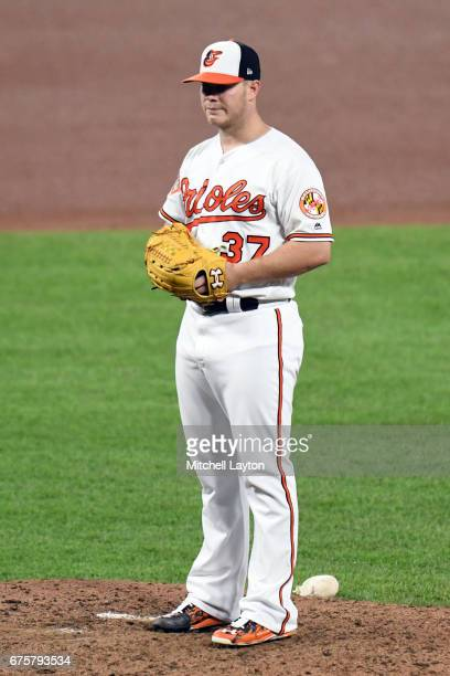 Dylan Bundy of the Baltimore Orioles pitches during a baseball game against the Tampa Bay Rays at Oriole Park at Camden Yards on April 26 2017 in...