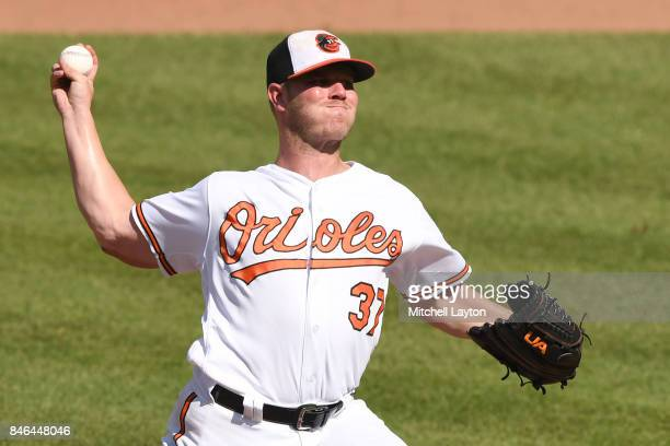 Dylan Bundy of the Baltimore Orioles pitches during a baseball game against the New York Yankees at Oriole Park at Camden Yards on September 4 2017...