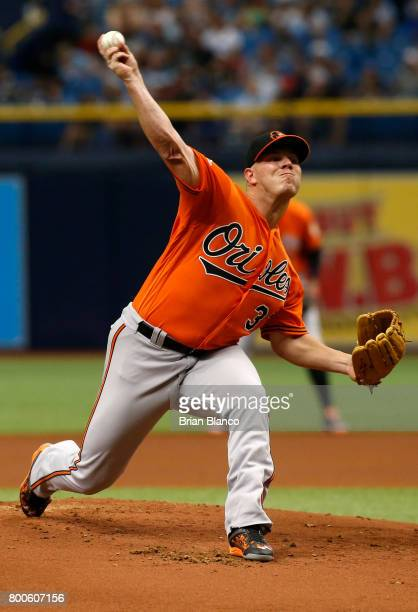 Dylan Bundy of the Baltimore Orioles pitches during the first inning of a game against the Tampa Bay Rays on June 24 2017 at Tropicana Field in St...
