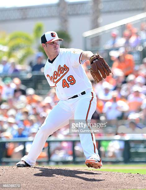 Dylan Bundy of the Baltimore Orioles pitches during the Spring Training game against the Detroit Tigers at Ed Smith Stadium on March 4 2015 in...