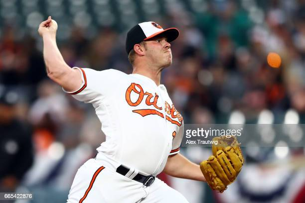 Dylan Bundy of the Baltimore Orioles pitches in the firs tinning during the game against the Toronto Blue Jays at Oriole Park at Camden Yards on...