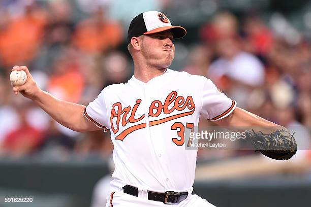Dylan Bundy of the Baltimore Orioles pitches in the first inning during a baseball game against the Boston Red Sox at Oriole Park at Camden Yards at...
