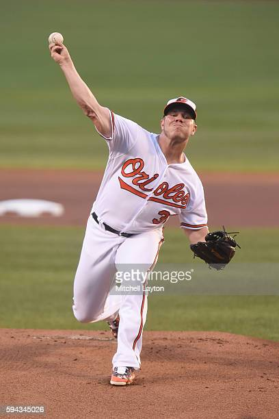 Dylan Bundy of the Baltimore Orioles pitches in the first inning during a baseball game against the the Washington Nationals at Oriole Park at Camden...