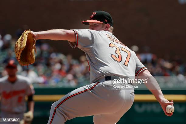Dylan Bundy of the Baltimore Orioles pitches in the first inning while playing the Detroit Tigers at Comerica Park on May 18 2017 in Detroit Michigan