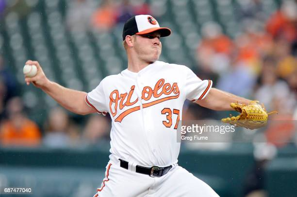 Dylan Bundy of the Baltimore Orioles pitches in the first inning against the Minnesota Twins at Oriole Park at Camden Yards on May 23 2017 in...