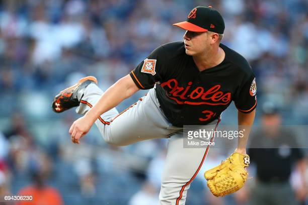 Dylan Bundy of the Baltimore Orioles pitches in the first inning against the New York Yankees at Yankee Stadium on June 9 2017 in the Bronx borough...