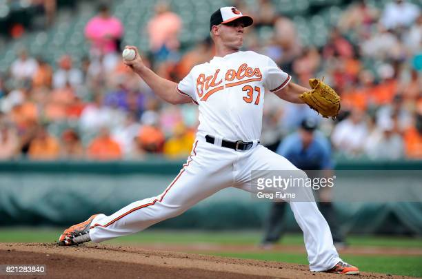 Dylan Bundy of the Baltimore Orioles pitches in the first inning against the Houston Astros at Oriole Park at Camden Yards on July 23 2017 in...