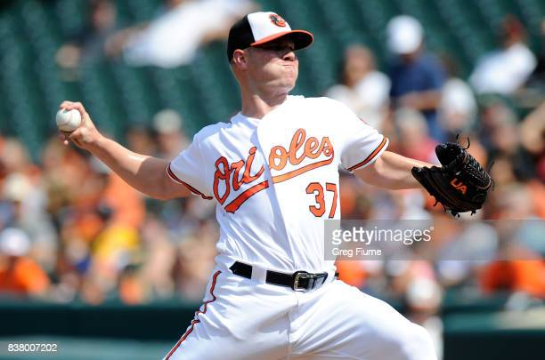Dylan Bundy of the Baltimore Orioles pitches in the first inning against the Oakland Athletics at Oriole Park at Camden Yards on August 23 2017 in...