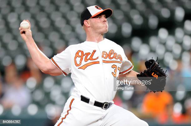 Dylan Bundy of the Baltimore Orioles pitches in the first inning against the Seattle Mariners at Oriole Park at Camden Yards on August 29 2017 in...