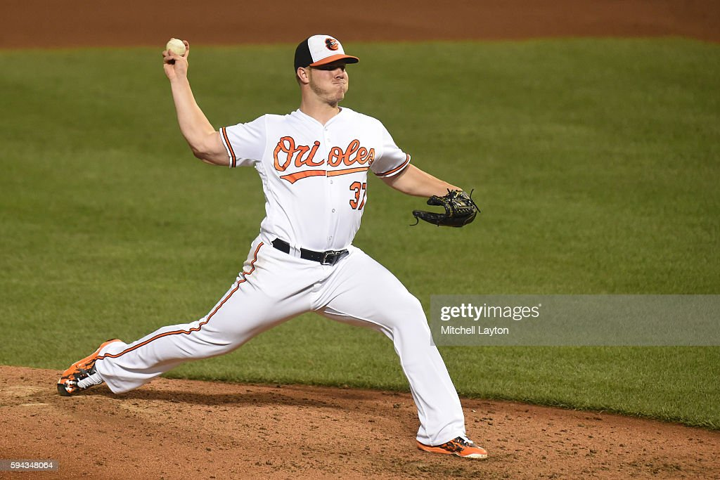 Dylan Bundy #37 of the Baltimore Orioles pitches in the forth inning during a baseball game against the the Washington Nationals at Oriole Park at Camden Yards on August 22, 2016 in Baltimore, Maryland.