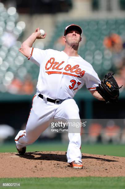 Dylan Bundy of the Baltimore Orioles pitches in the second inning against the Oakland Athletics at Oriole Park at Camden Yards on August 23 2017 in...