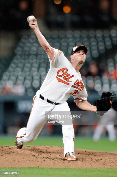 Dylan Bundy of the Baltimore Orioles pitches in the second inning against the Seattle Mariners at Oriole Park at Camden Yards on August 29 2017 in...