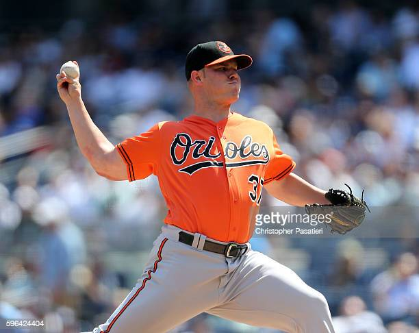 Dylan Bundy of the Baltimore Orioles throws a pitch during the bottom of the first inning against the New York Yankees on August 27 2016 at Yankee...