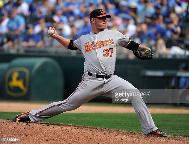 Dylan Bundy of the Baltimore Orioles throws in the eighth inning against the Kansas City Royals at Kauffman Stadium on April 24 2016 in Kansas City...