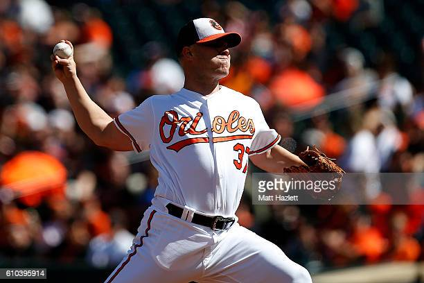 Dylan Bundy of the Baltimore Orioles works in the first inning against the Arizona Diamondbacks at Oriole Park at Camden Yards on September 25 2016...