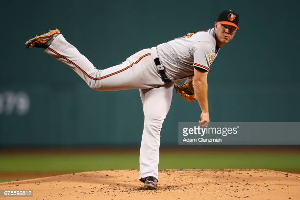Dylan Bundy of the Baltmore Orioles delivers in the first inning of a game against the Boston Red Sox at Fenway Park on May 1 2017 in Boston...
