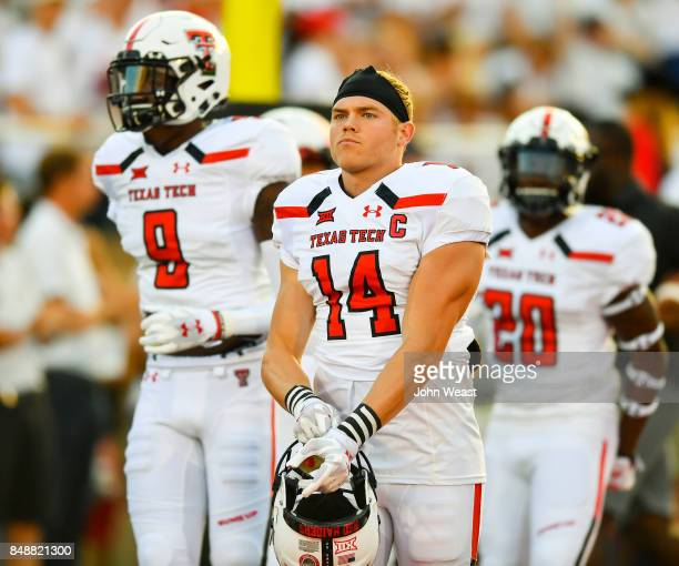 Dylan Cantrell of the Texas Tech Red Raiders comes out to warm up prior to the game between the Texas Tech Red Raiders and the Arizona State Sun...