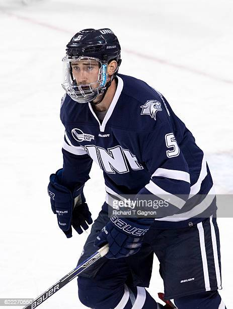 Dylan Chanter of the New Hampshire Wildcats skates against the Boston College Eagles during NCAA hockey at Kelley Rink on November 8 2016 in Chestnut...