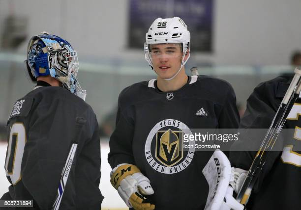 Dylan Coghlan looks at Griffen Outhouse at the conclusion of the Vegas Golden Knights Development Camp at the Las Vegas Ice Center on July 01 2017 in...